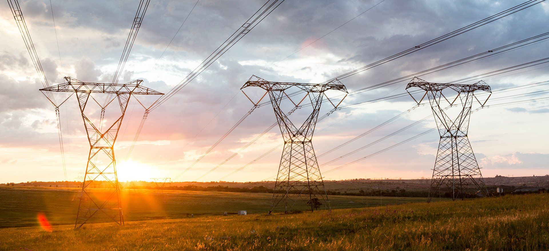 Powerlines in the sunset